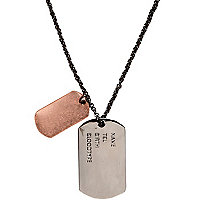 Gunmetal and copper tone dog tag necklace