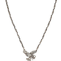 Silver tone eagle pendant necklace