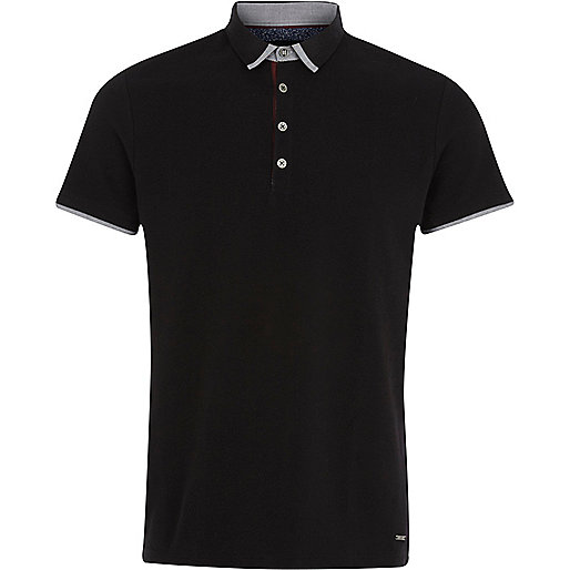 Black contrast trim collar polo shirt