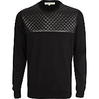 Black quilted yoke sweatshirt