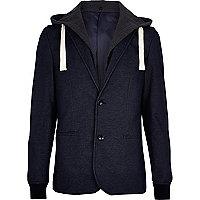 Indigo jersey 2 in 1 blazer hoodie
