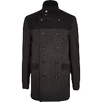 Dark grey two-tone smart coat