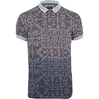 Grey Holloway Road abstract print polo shirt