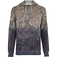 Blue Holloway Road floral dip dye hoodie