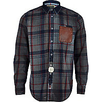 Grey check Holloway Road oil wash shirt
