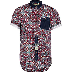 Red Holloway Road tile print shirt