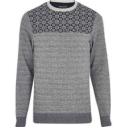 Navy tile print yoke sweatshirt
