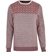 Dark red tile print yoke sweatshirt