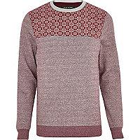 Dark red tile print yoke sweatshirt