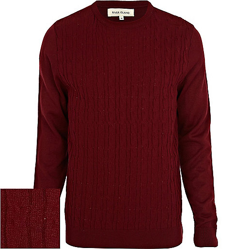 Dark red cable knit jumper