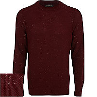 Dark red neppy raglan sleeve jumper