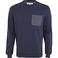 Navy polka dot pocket sweatshirt