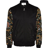 Black floral tapestry sleeve bomber jacket