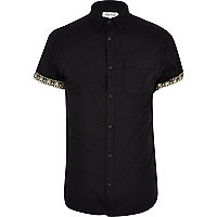 Black aztec roll sleeve Oxford shirt