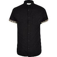 Black aztec roll sleeve Oxford shirt