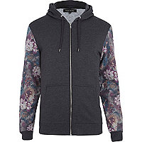 Dark grey floral sleeve zip through hoodie