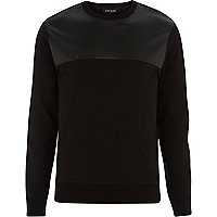 Black leather-look perforated yoke sweatshirt