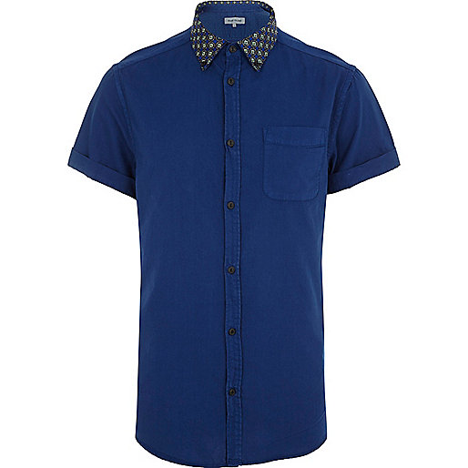 Blue contrast print collar shirt