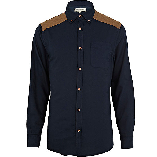 Navy quilted shoulder patch shirt