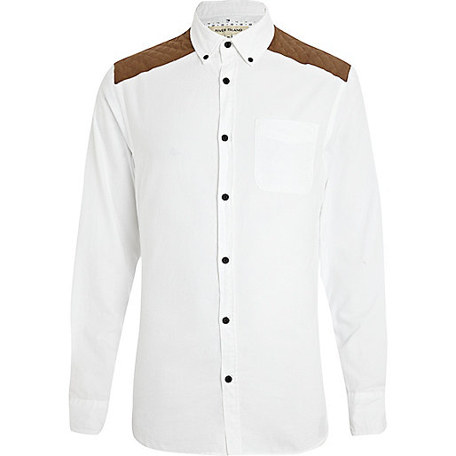 White quilted shoulder patch shirt