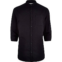 Black grandad collar shirt