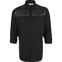 Black quilted yoke Oxford shirt
