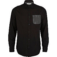 Black polka dot pocket Oxford shirt