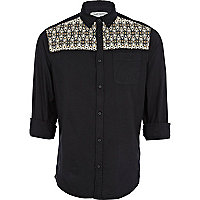 Black tribal print yoke Oxford shirt