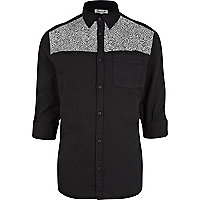 Black scribble print yoke shirt