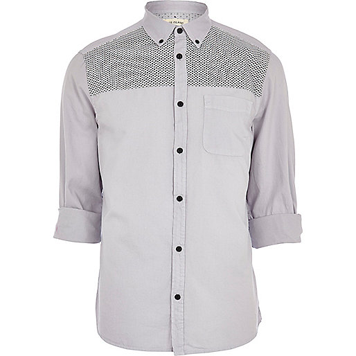 Grey daisy flower print yoke Oxford shirt