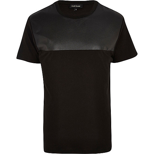 Black leather-look perforated yoke t-shirt