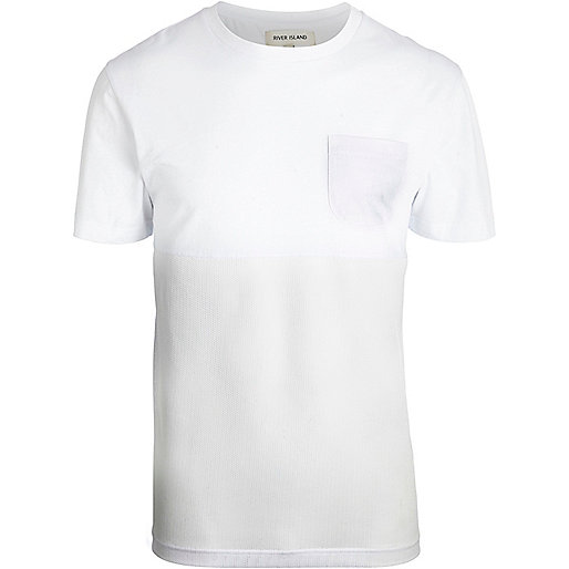 White crew neck mesh panel t-shirt