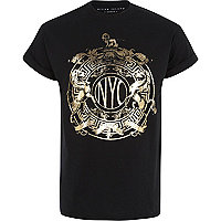 Black NYC foil print t-shirt