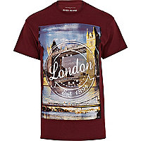 Dark red London print t-shirt