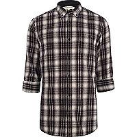 Black brushed check shirt