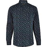 Teal ditsy floral paisley long sleeve shirt