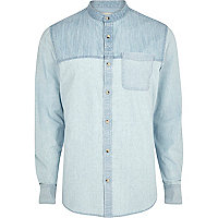 Light wash two-tone long sleeve denim shirt