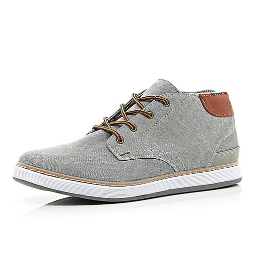 Grey canvas mid tops