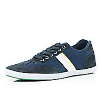 Navy colour block lace up trainers