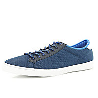Navy mesh lace up trainers