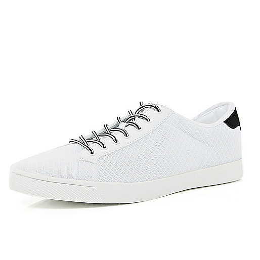 White mesh lace up trainers