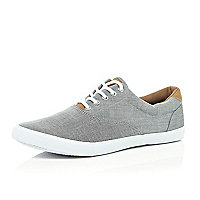 Grey chambray plimsolls