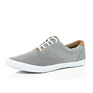 Grey chambray lace up plimsolls