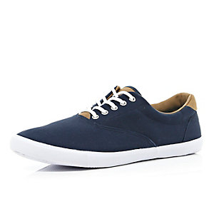 Navy canvas lace up plimsolls