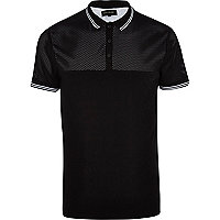 Black mesh yoke polo shirt