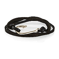 Black leather hook wrap bracelet