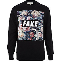 Black floral fake print sweatshirt