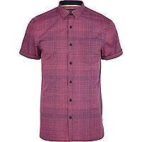 Purple cross hatch short sleeve shirt