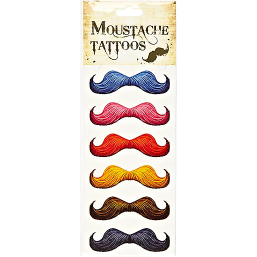 Multicoloured moustache tattoos