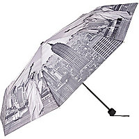 Black New York print umbrella